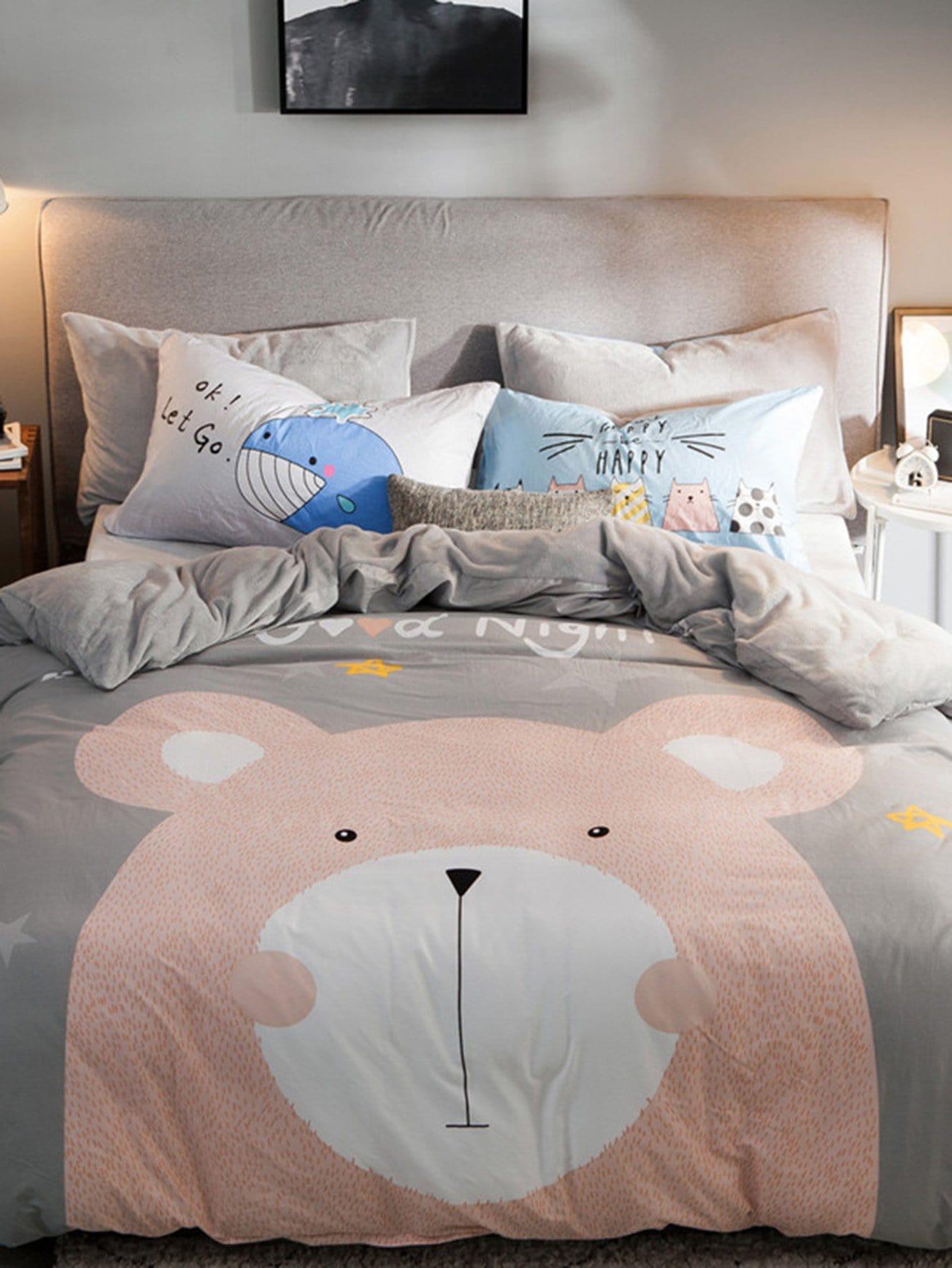 Купить Комплект постельного белья с принтом медведя, null, SheIn