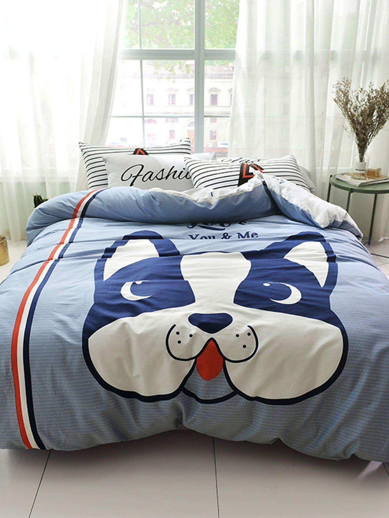 Купить Комплект постельного белья с принтом собаки, null, SheIn