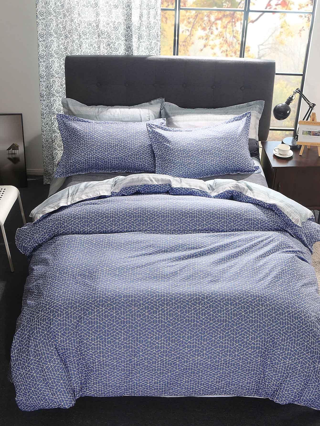 Купить Комплект постельного белья с геометрическим принтом, null, SheIn