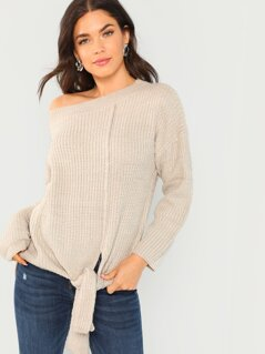 Side Tie Detail Knit Sweater