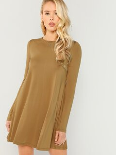 Long Sleeve Solid Swing Dress