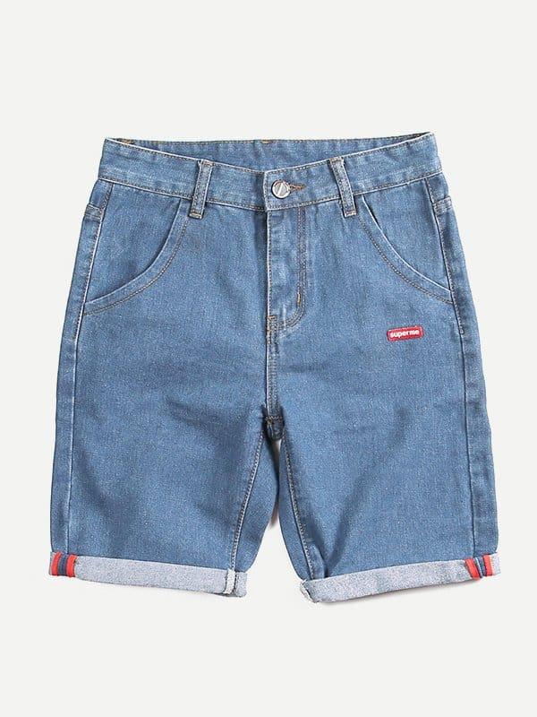 Купить Простые джинсовые шорты и с украшением заплаты для мужчины, null, SheIn