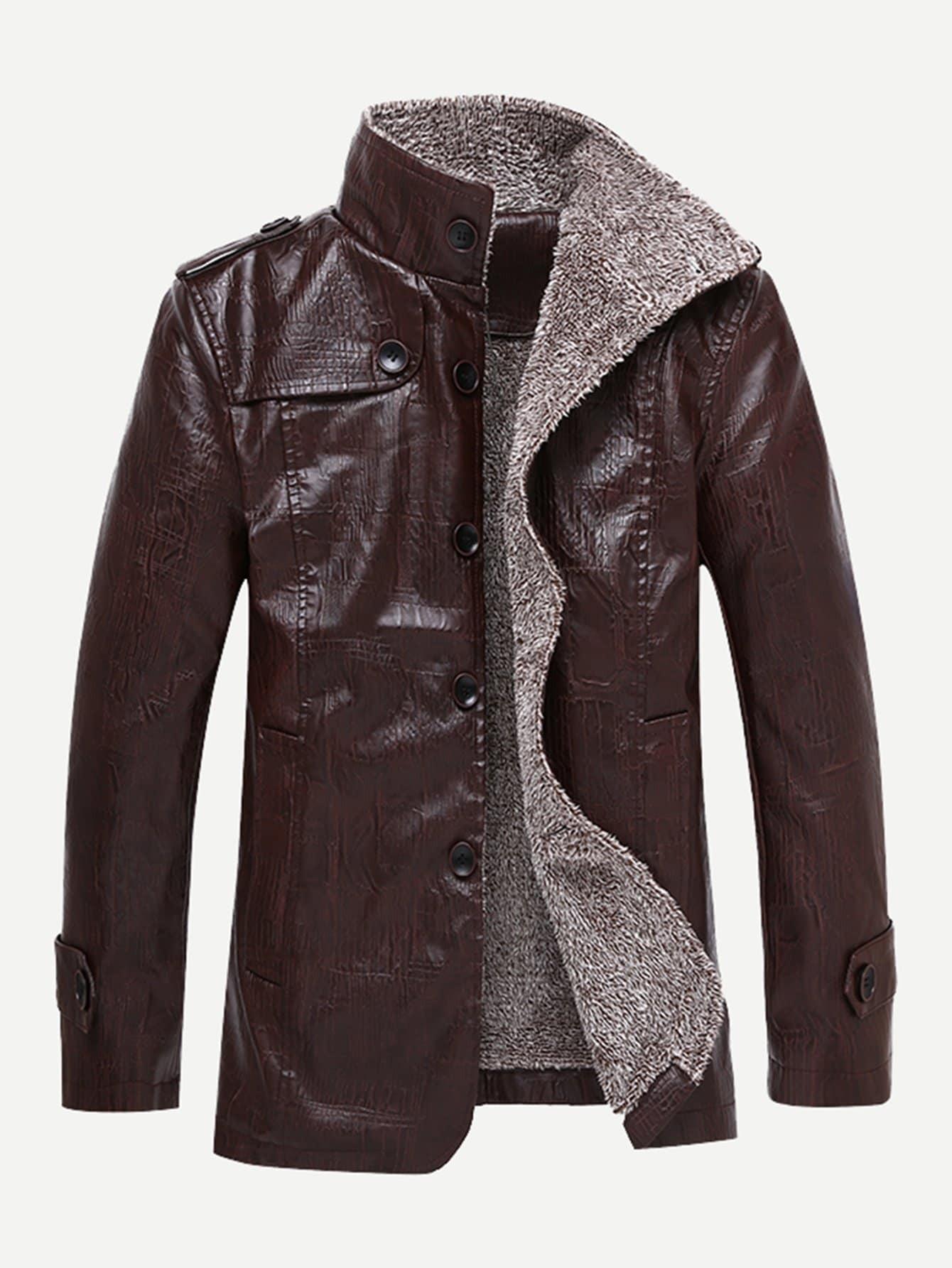 Купить Коричневый на пуговицах Одноцветный Повседневный стиль Мужское пальто, null, SheIn