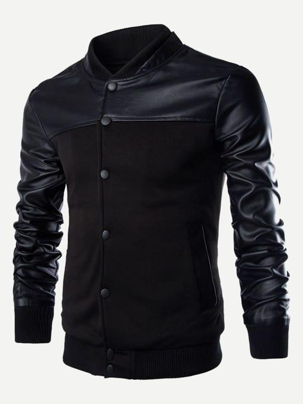 Купить Для мужчин контрастная куртка с кожаным рукавом, null, SheIn