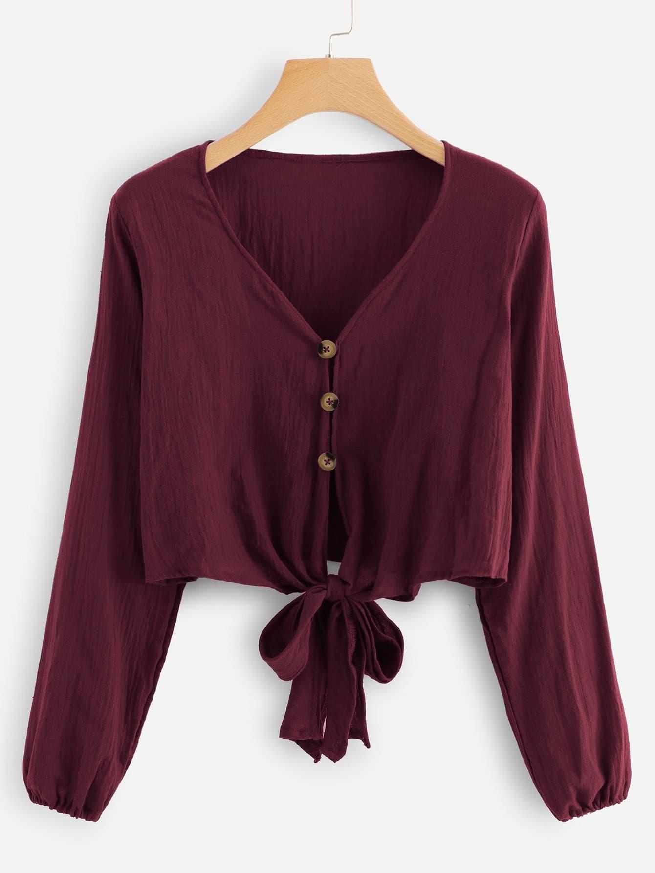 Купить Бордовый Пуговица Одноцветный Повседневный Блузы+рубашки, null, SheIn