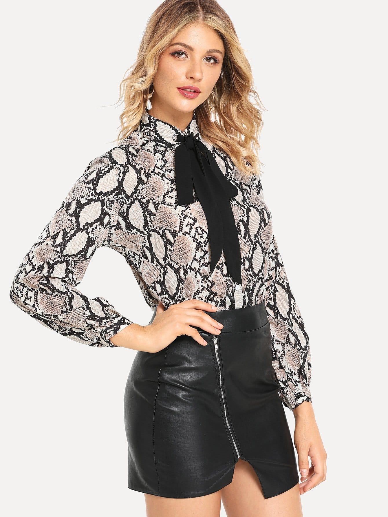 Купить Многоцветный воротник-бант Кокетливый стиль Блузы+рубашки, Nathane, SheIn