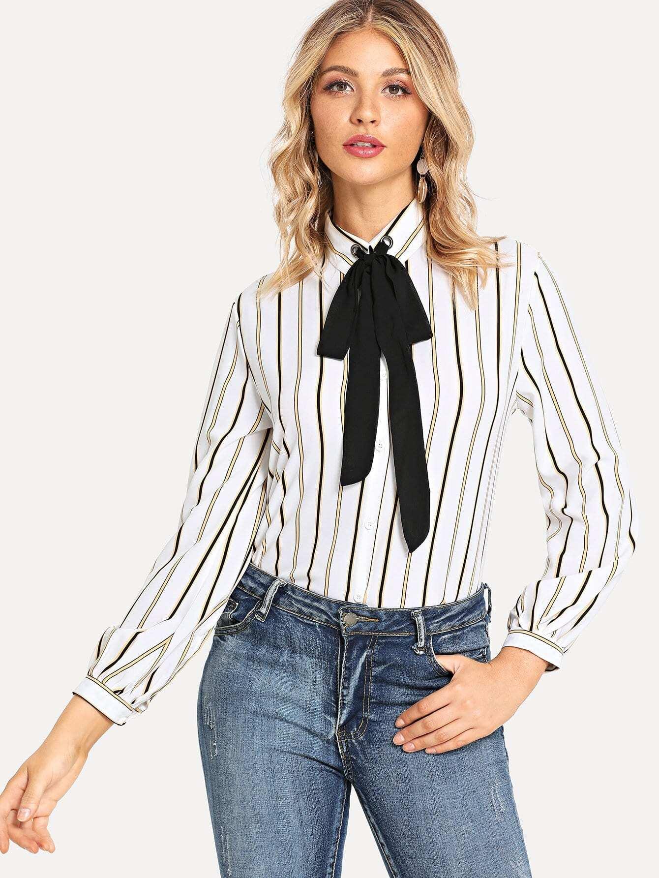 Купить Белый воротник-бант Полосатый Кокетливый стиль Блузы+рубашки, Nathane, SheIn