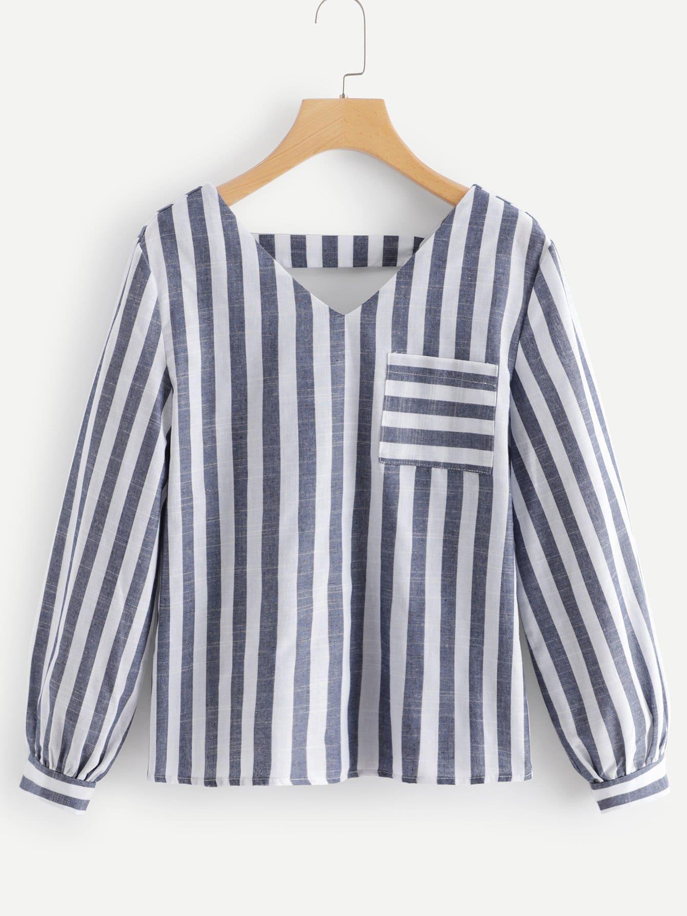 Купить Блузка в полоску с карманом, null, SheIn