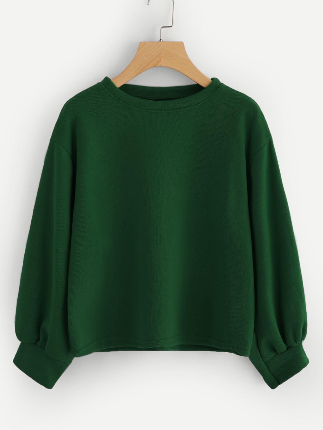 Купить Зеленый Ровный цвет Повседневный Свитшоты, null, SheIn