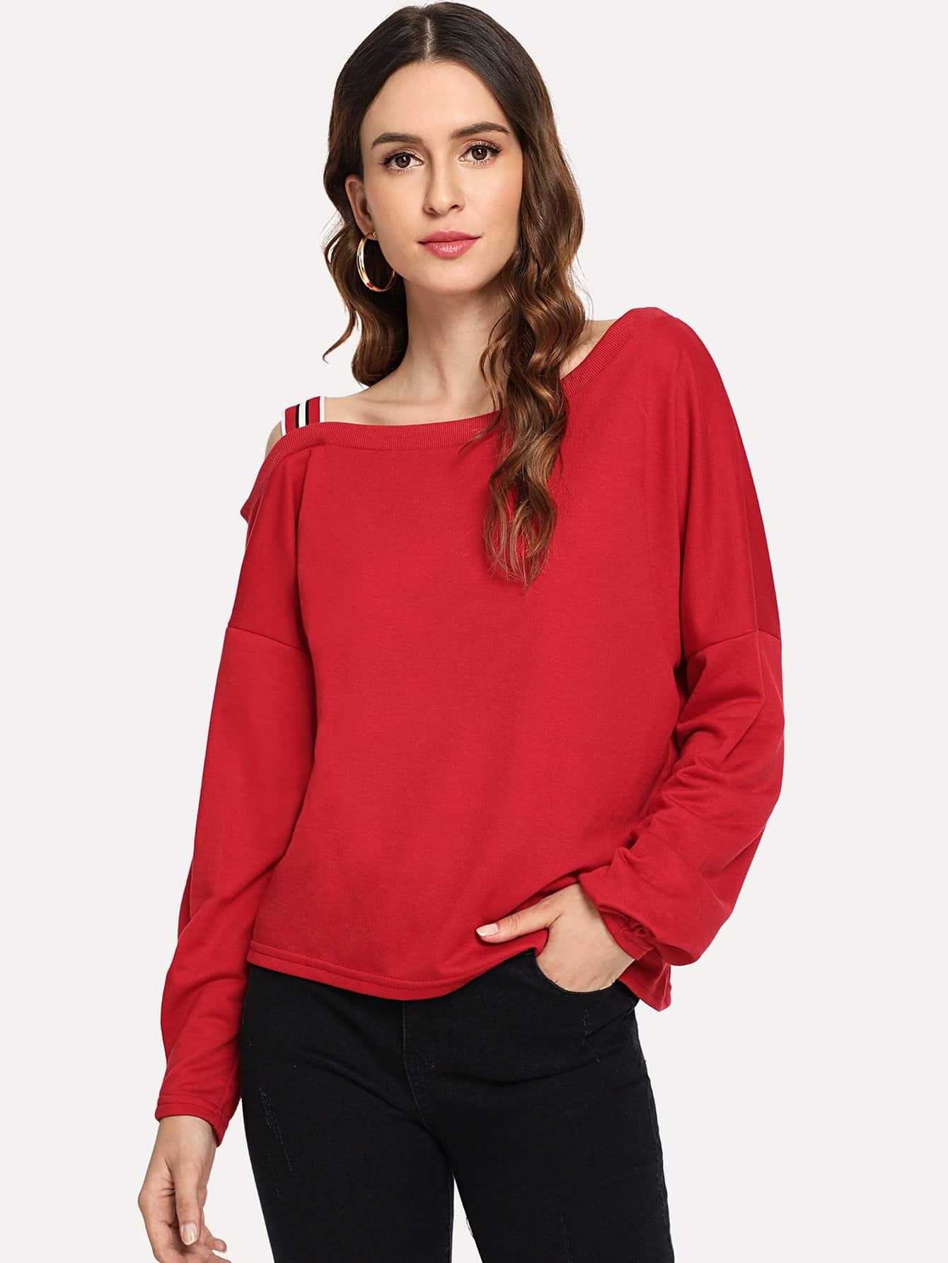 Купить Красный Открытые плечи Ровный цвет Повседневный Свитшоты, Jana, SheIn