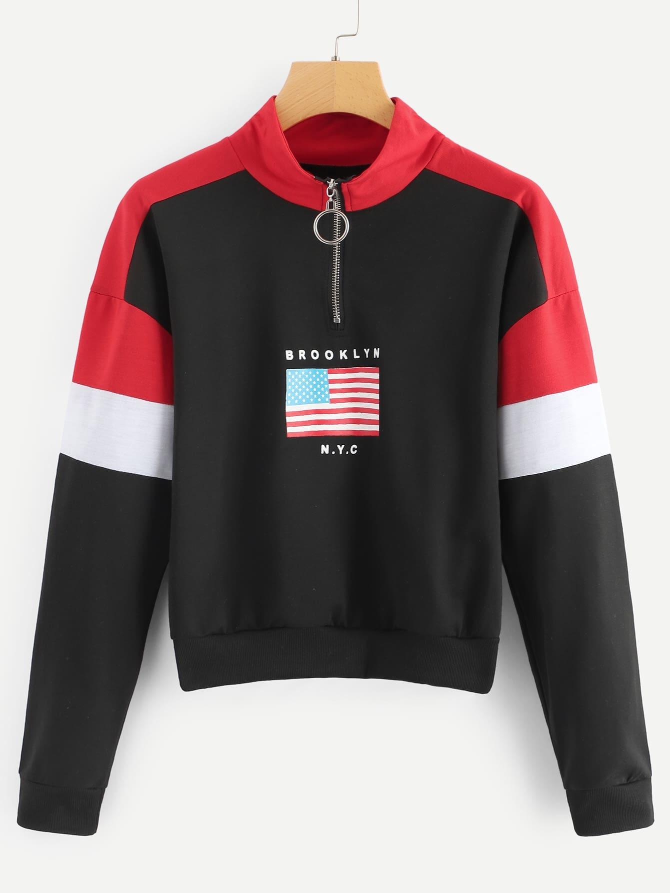 Свитшот с заниженной линией плеч с принтом флага, null, SheIn  - купить со скидкой