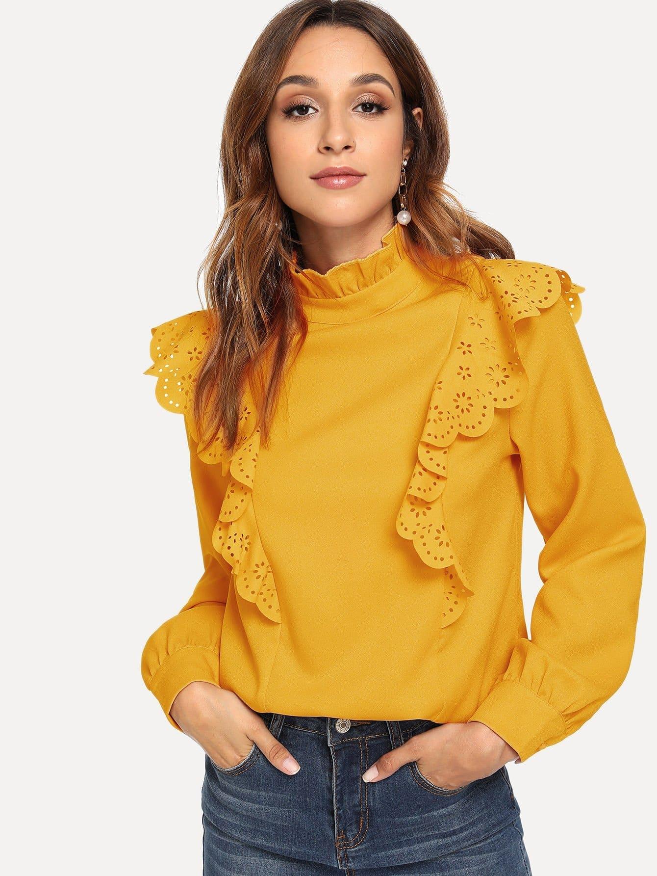 Купить Рубашка и воротник с розеткой и с украшением кройки, Gabi B, SheIn