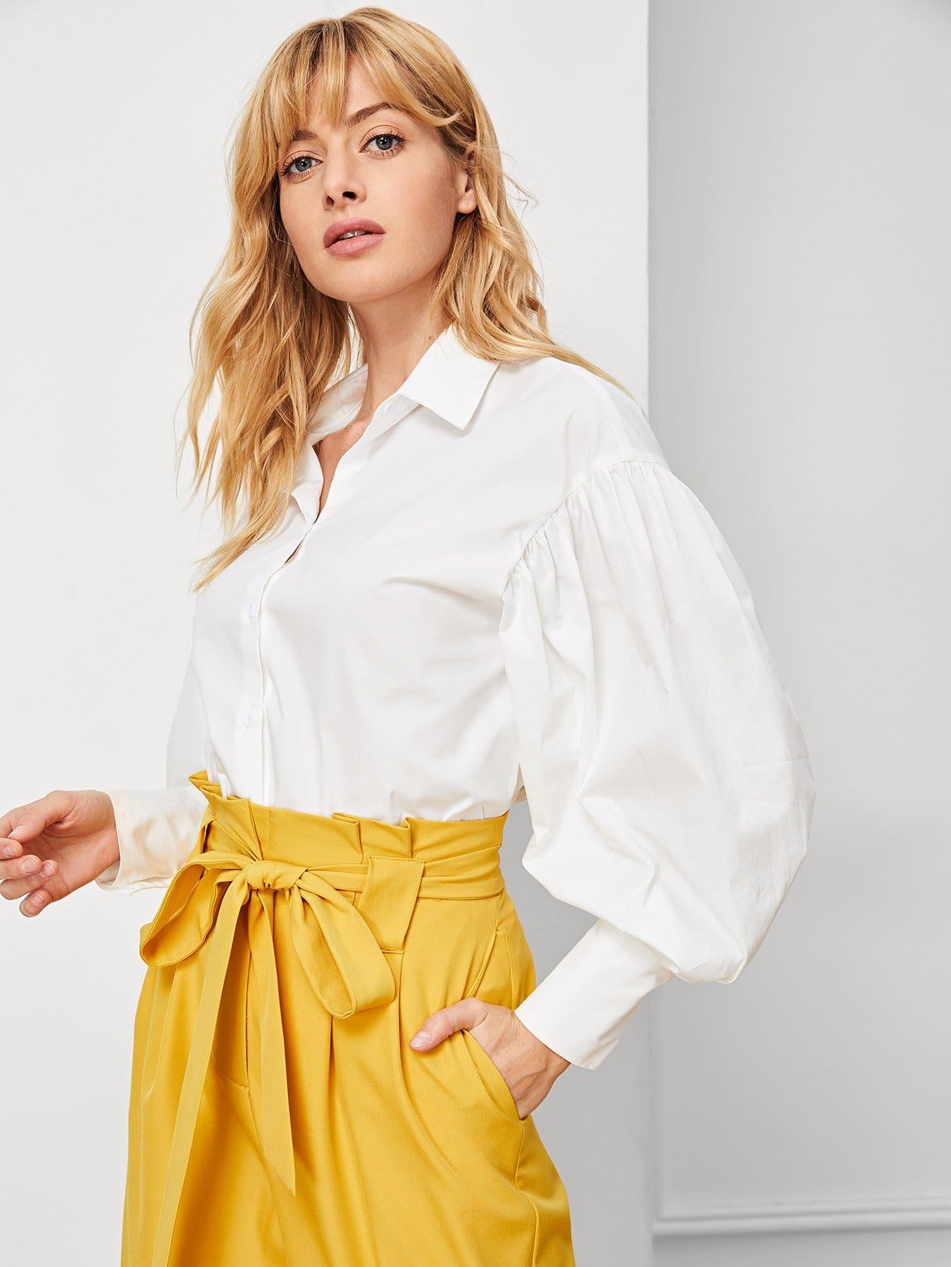 Купить Отделкой рюшами блузка с фонарными рукавами, Masha, SheIn