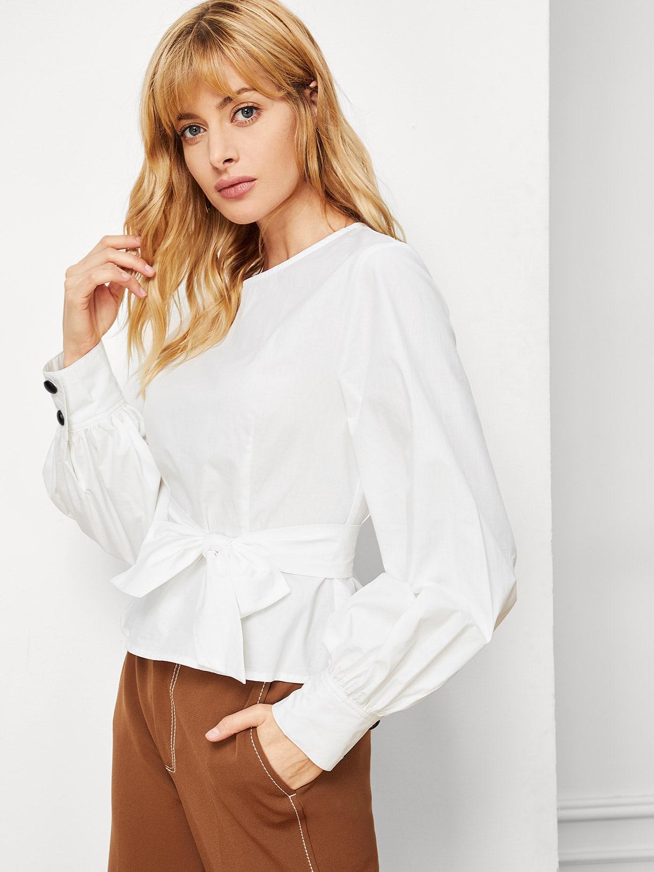 Купить Блузка на пуговицах с фонарными рукавами, Masha, SheIn