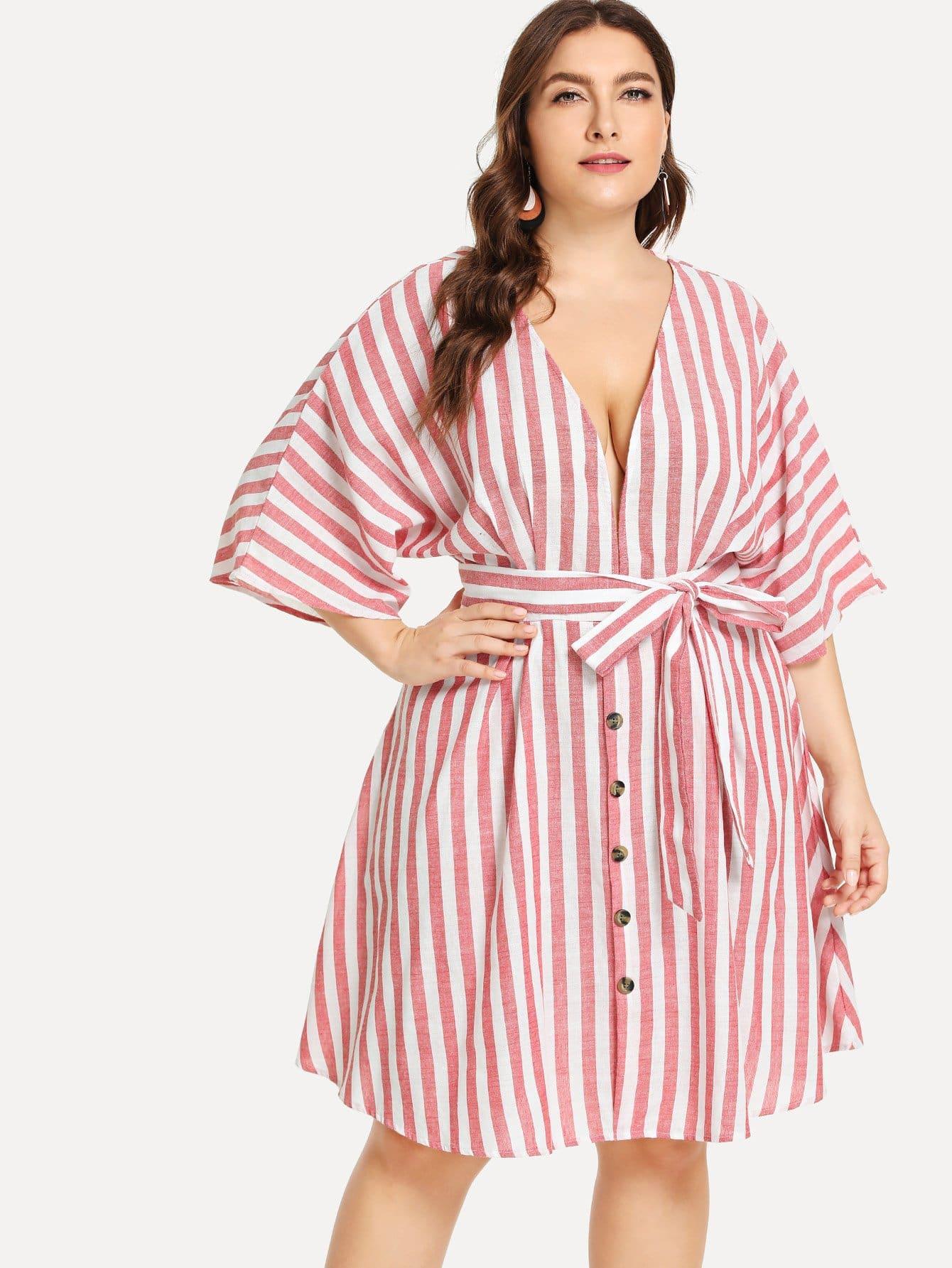 Купить Плюс размеры Низкий воротник платье с поясом, Franziska, SheIn