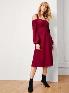 Self Tie Cold Shoulder Bishop Sleeve Dress