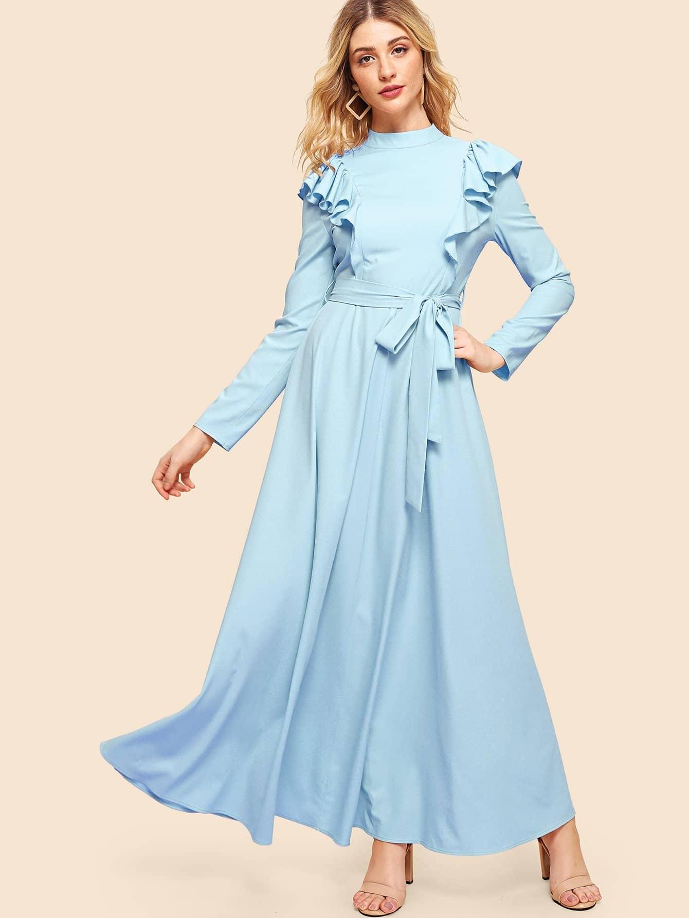 Купить С оборкой отделкой платье с ложным воротником, Nathane, SheIn