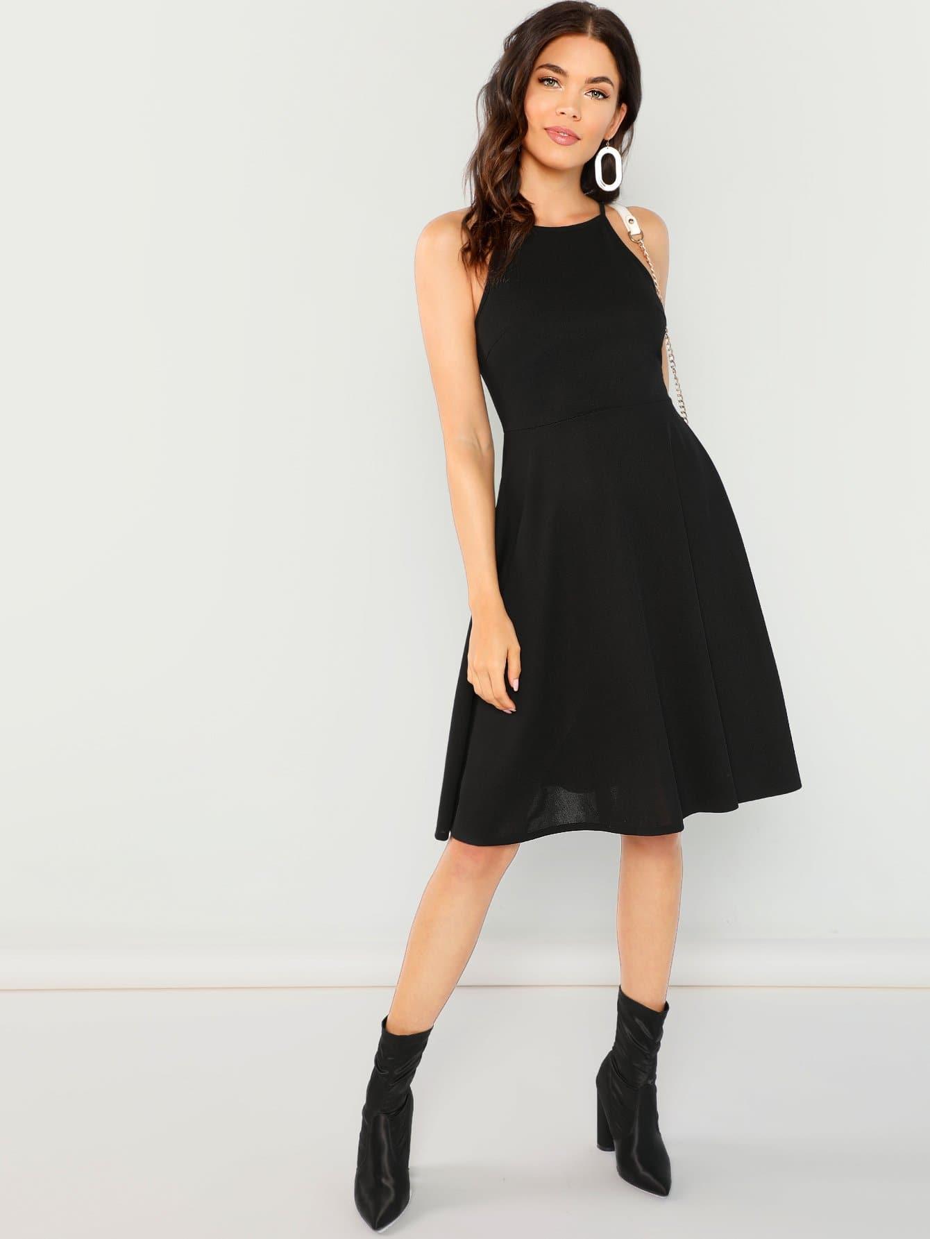 Купить Облегающое простое платье-халтер, Kelli S., SheIn