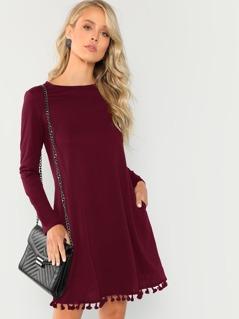 Solid Tassel Hem Tunic Dress