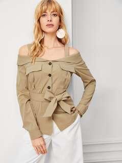 Cold Shoulder Multi Pocket Belted Coat