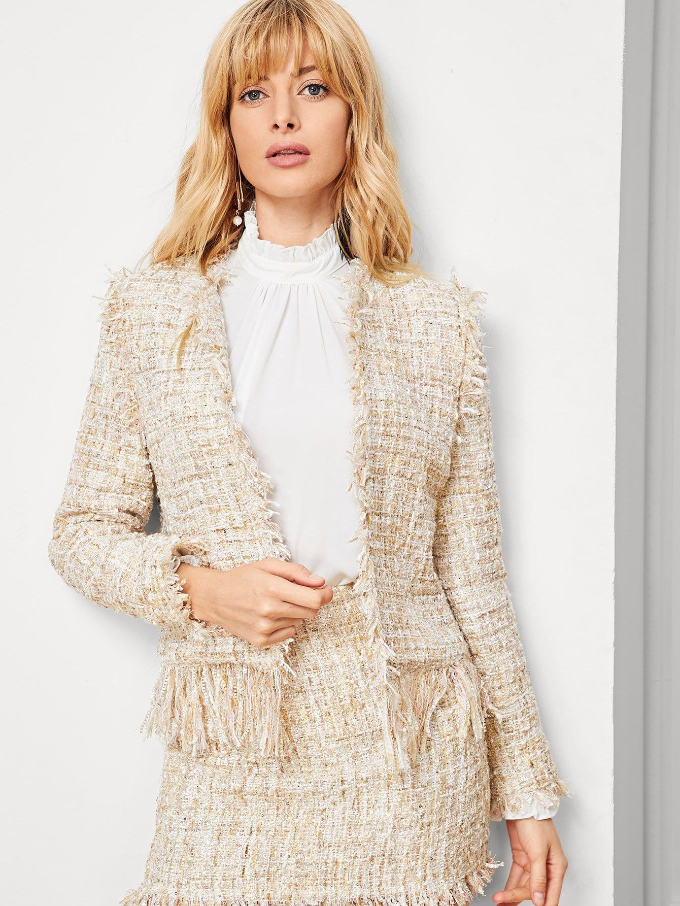 Купить Открытое пальто из твида со сырыми оторочками, Masha, SheIn