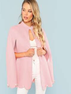 Buttoned Neck Pearl Beading Detail Cape Coat