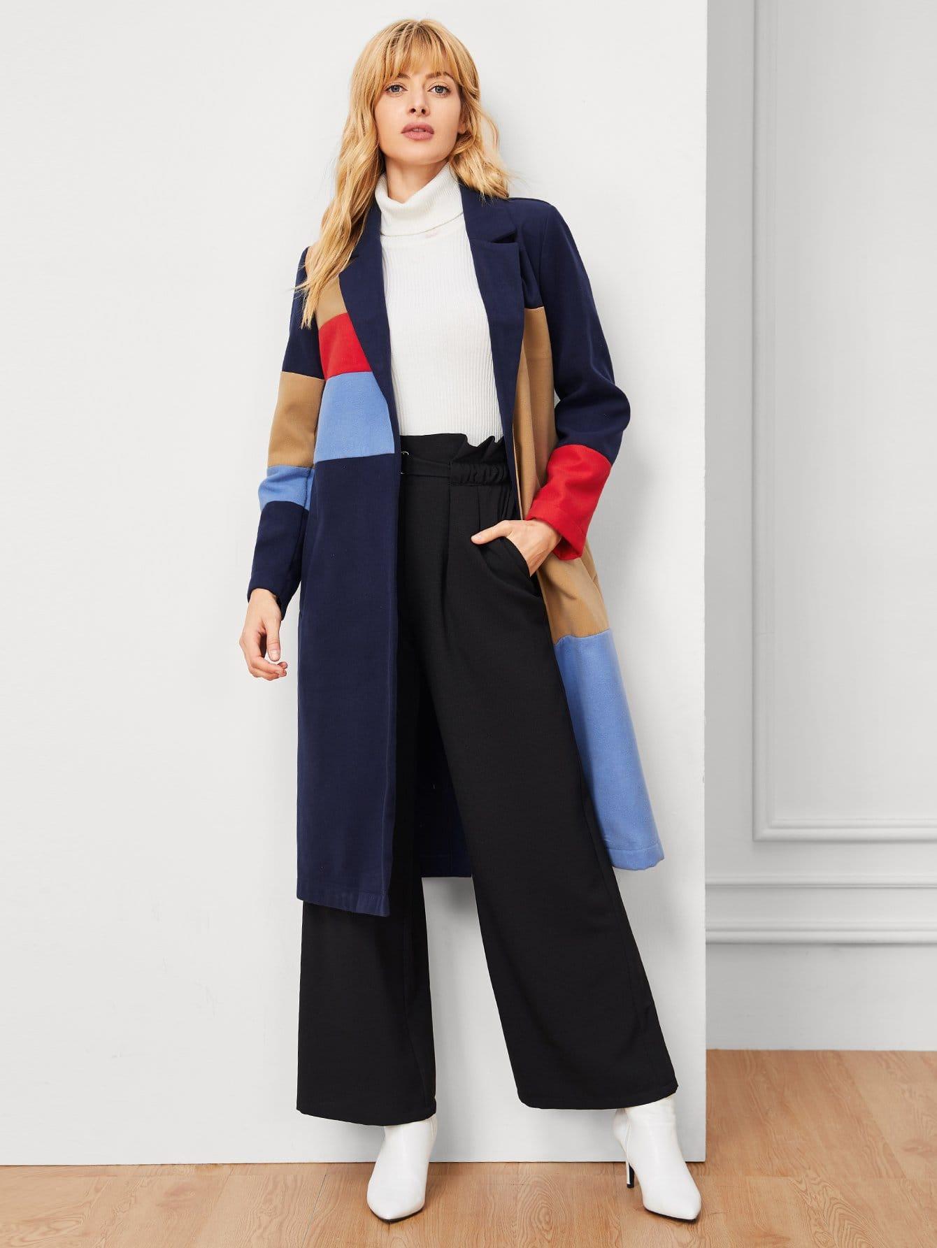 Купить Цветное кусковое длинное пальто, Masha, SheIn