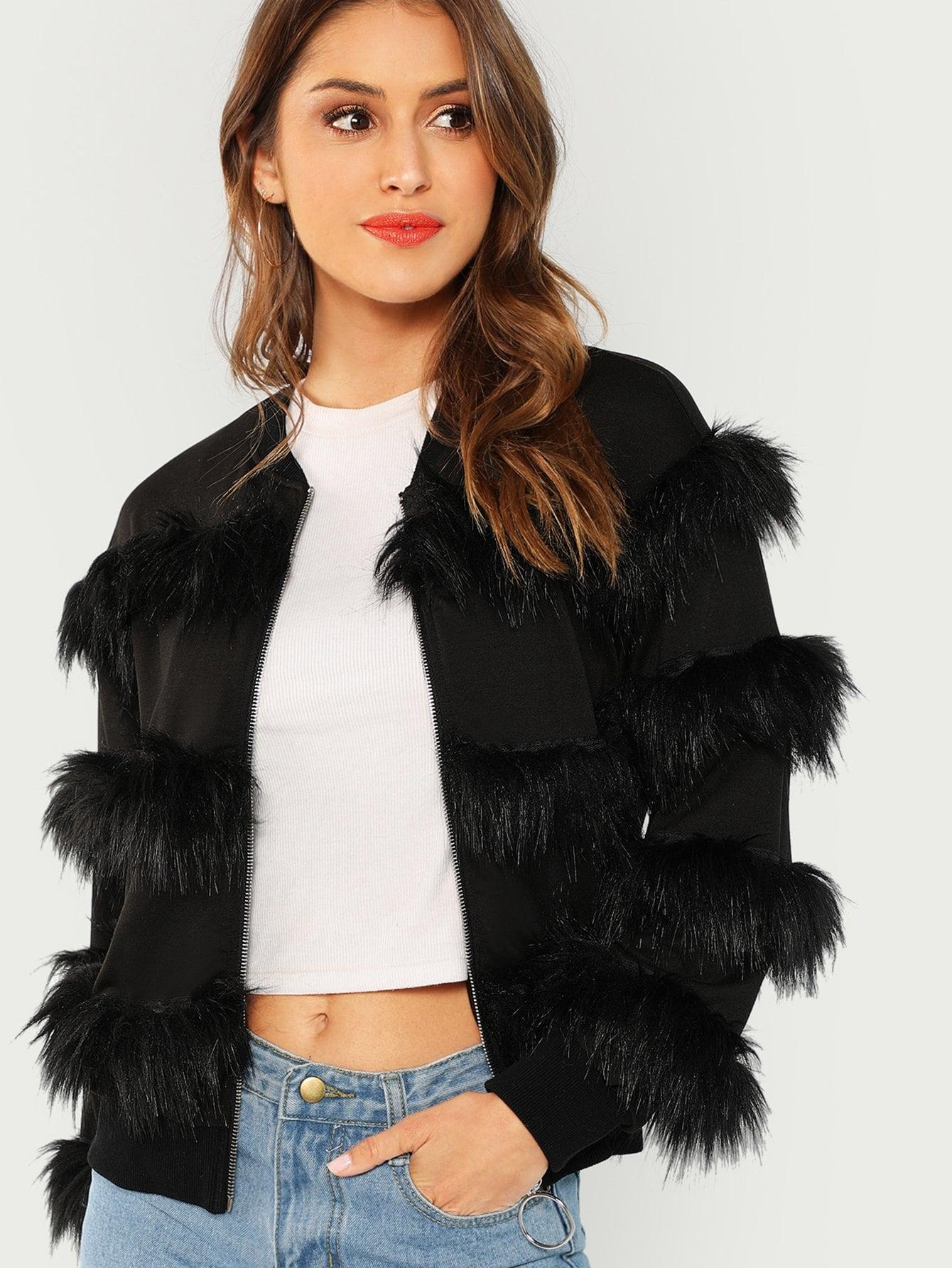 Купить Симметрическое пальто из искусственных кож и с застёжкой молния О-кольца, Gigi Paris, SheIn