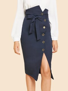 Button Up Slit Hem Belted Skirt