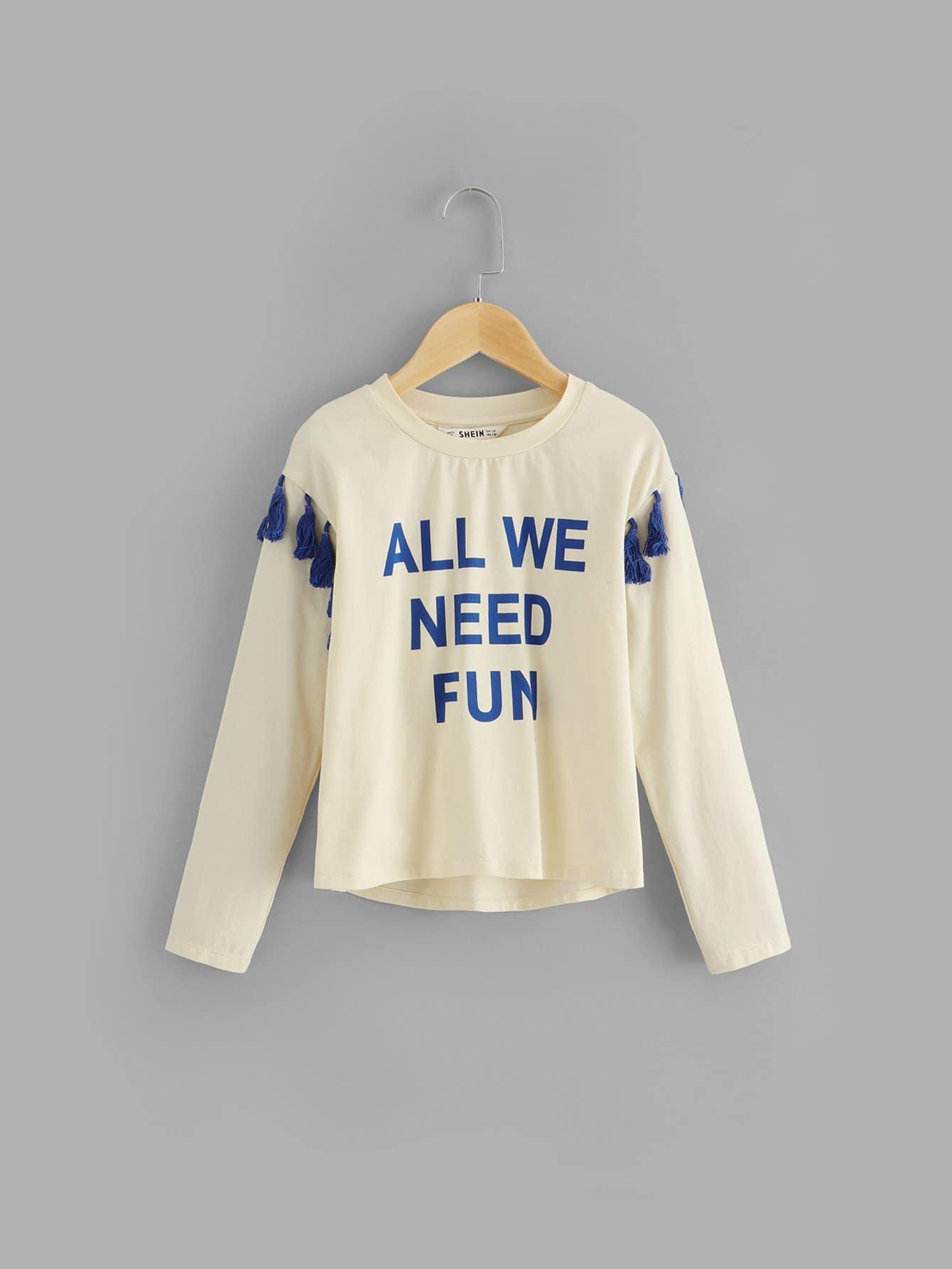 Купить Для девочек футболка с принтом букв с кисточками, null, SheIn