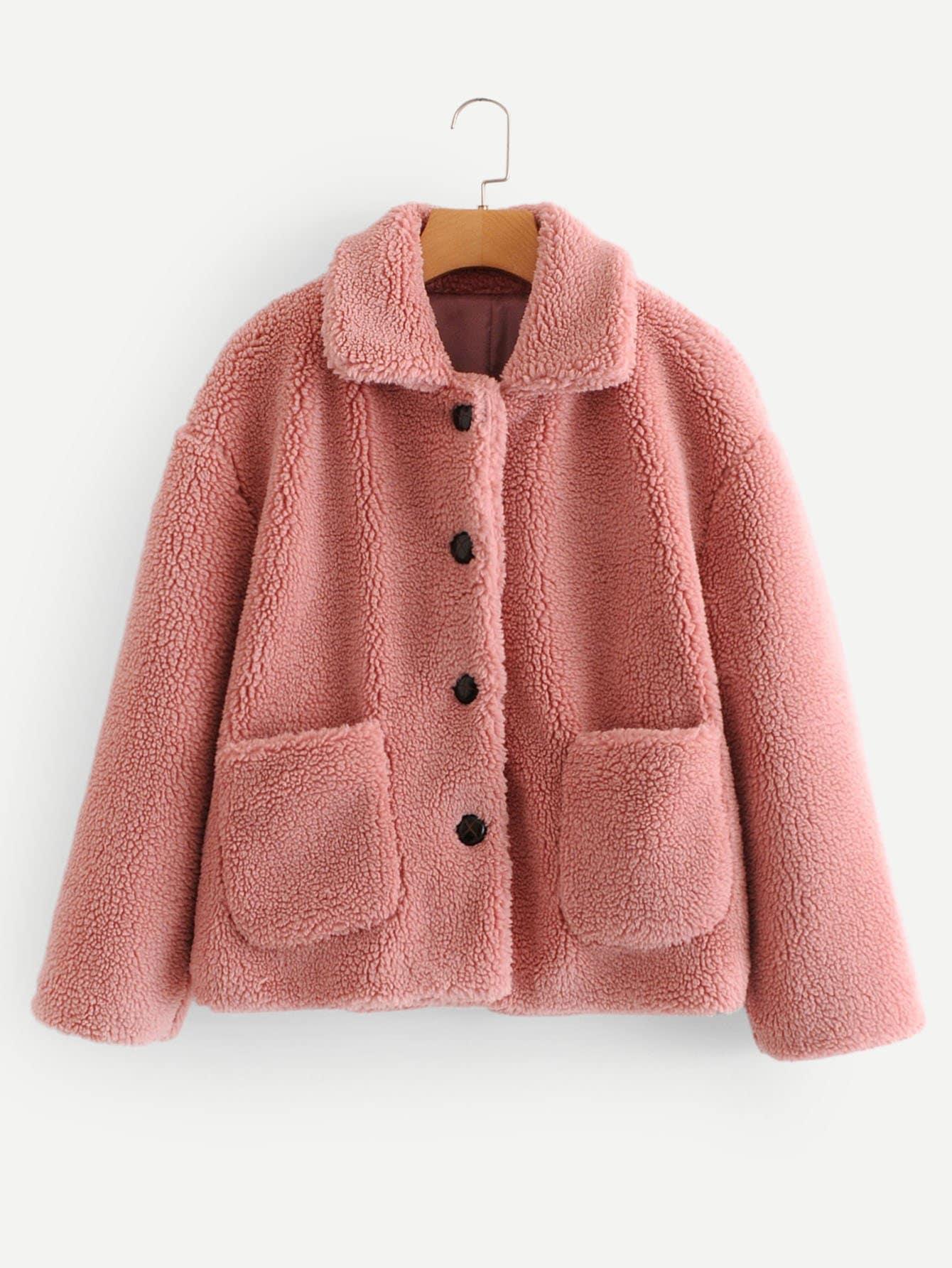 Купить Тедди пальто на пуговицах с карманом, null, SheIn