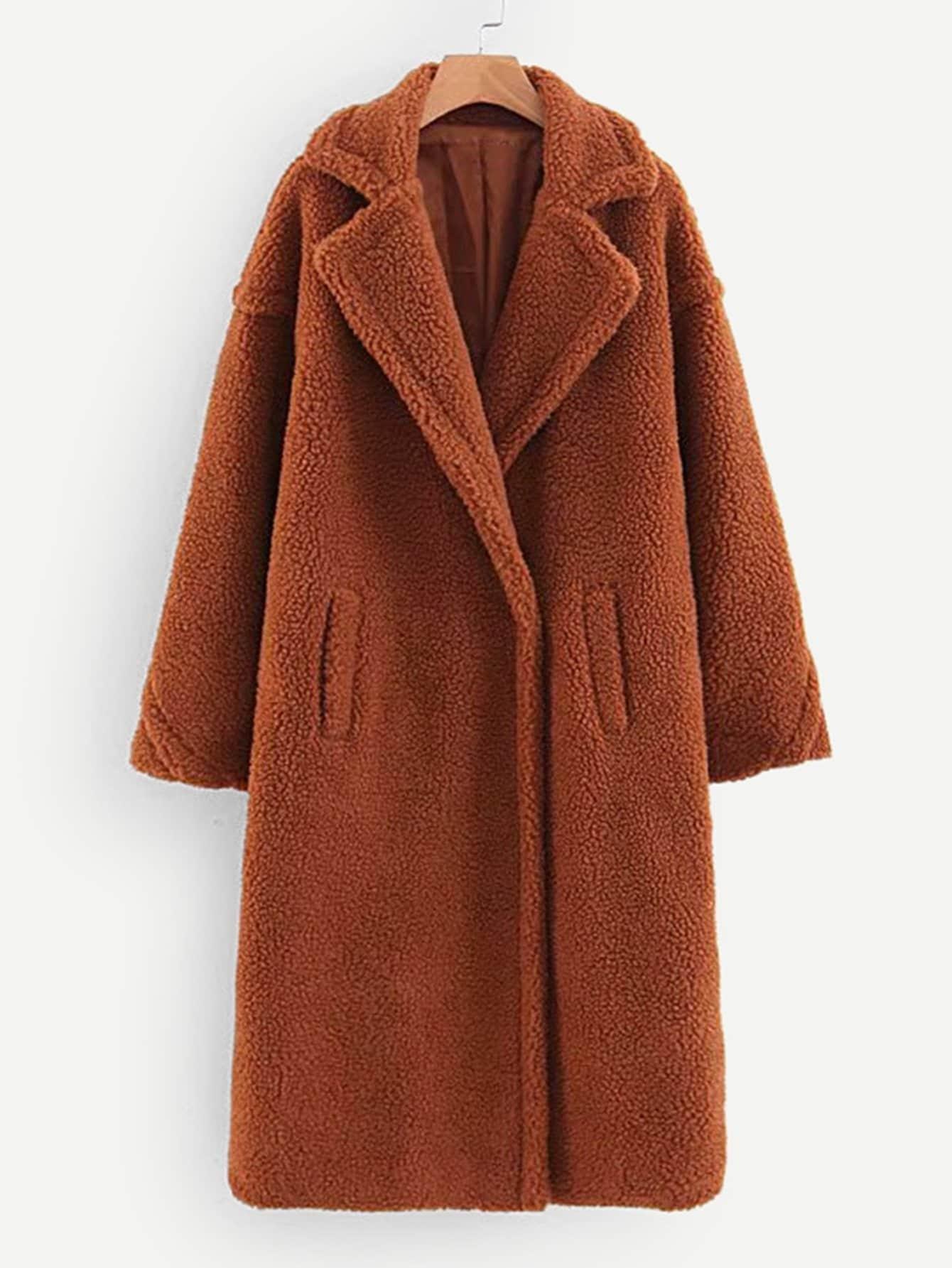 Купить Тедди пальто с карманом, null, SheIn