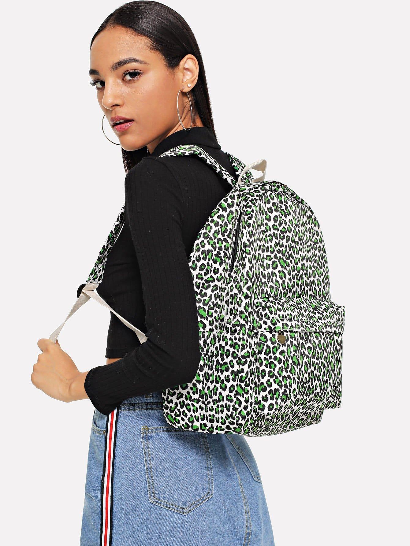 Купить Леопардовый парусиновый рюкзак, null, SheIn