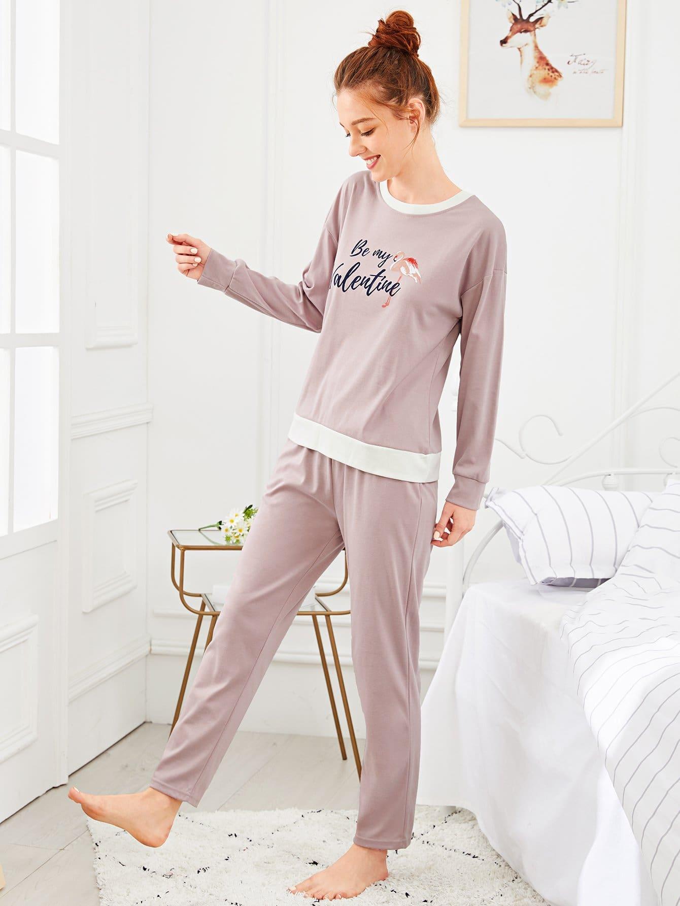 Купить Комплект пижамы с рисунками фламинго и буквы, Poly, SheIn