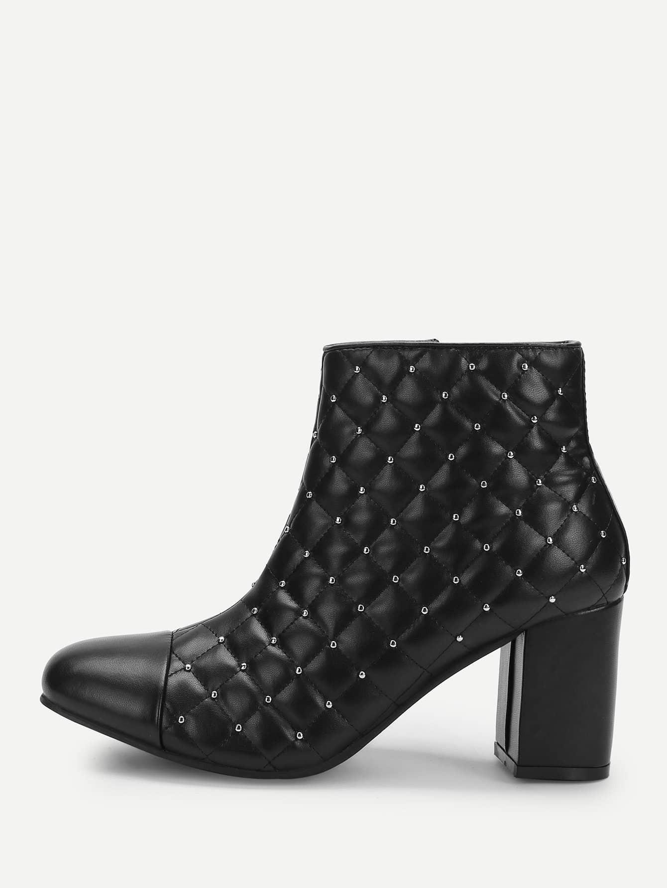 Купить Короткие сапоги на высоких каблуках с заклёпками, null, SheIn