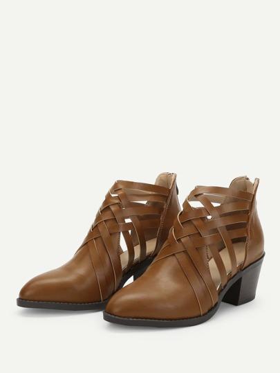 SheIn / Strappy Design PU Boots