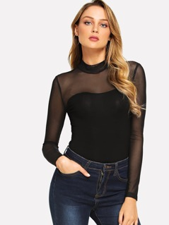 Mock Neck Mesh Yoke Fitted Bodysuit
