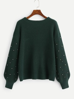 Beading Lantern Sleeve Drop Shoulder Sweater