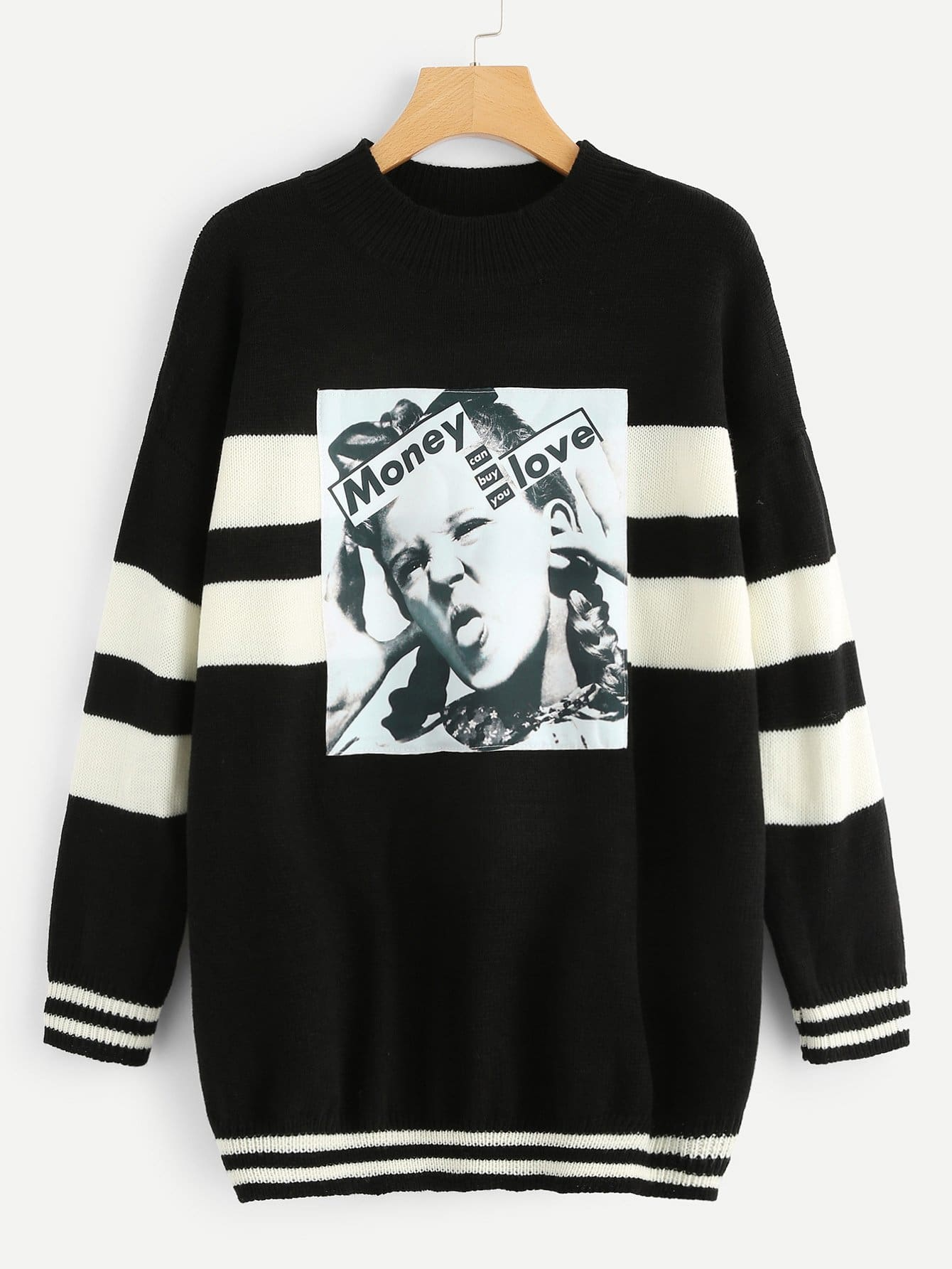 Купить Плюс размеры два тона свитер со смешанным принтом, null, SheIn