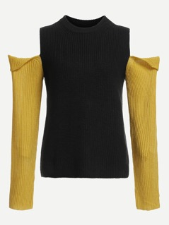 Cold Shoulder Slim Fitted Sweater
