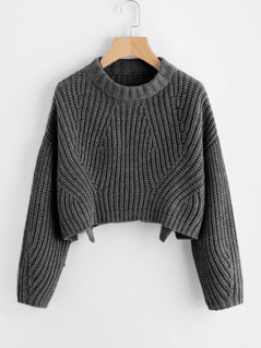 Round Neck Slit Hem Sweater