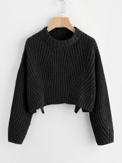 Round Neck Slit Hem Sweater