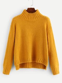 Drop Shoulder Stepped Hem Sweater