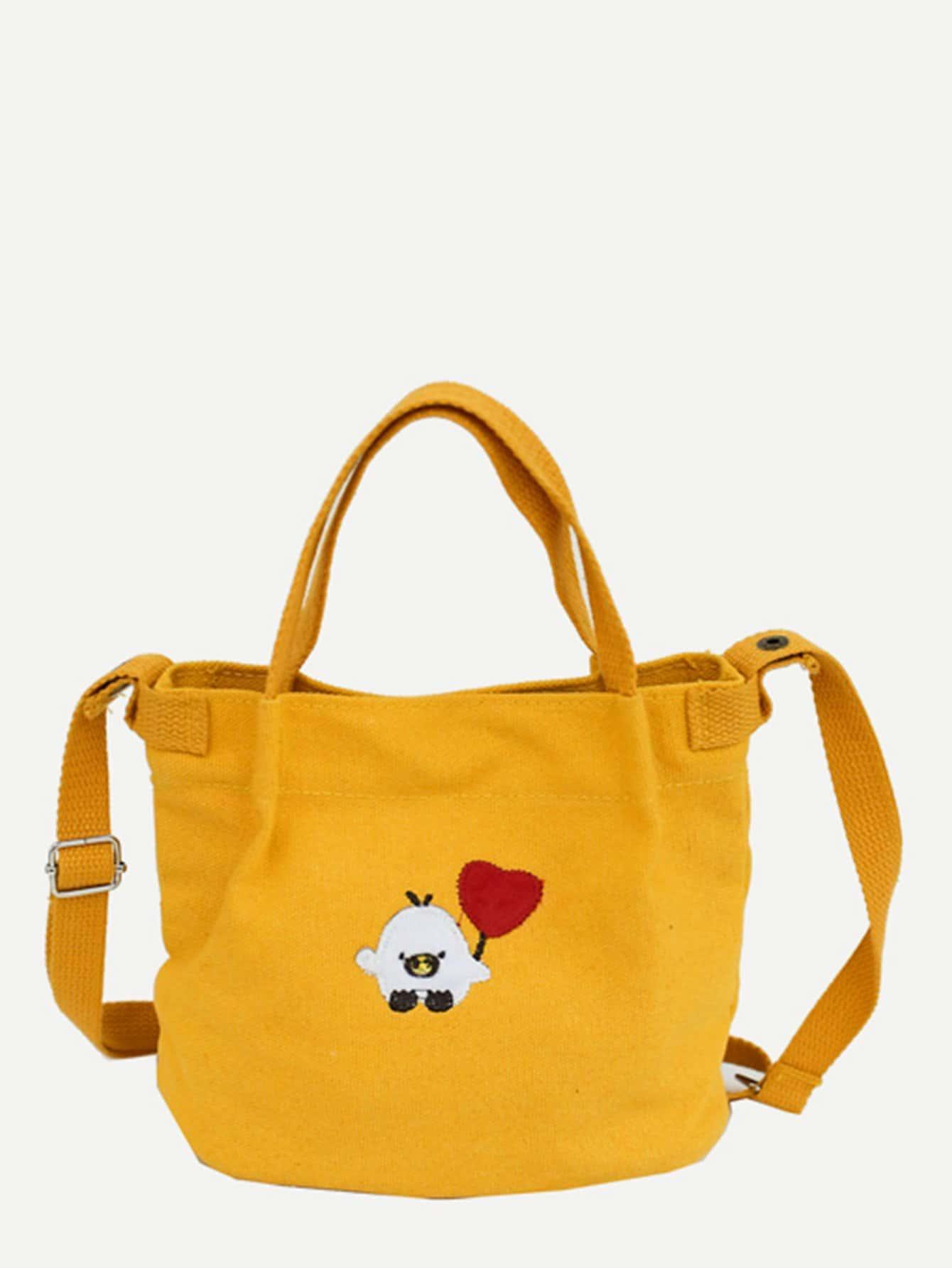 Купить С вышивкой жёлтый Наплечные сумки, null, SheIn
