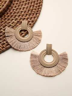 Textured Wood Earrings With Fringe Detail