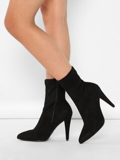 Pointed Stretch Sock Cone Heel Ankle Booties