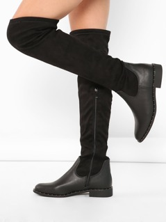 Stud Detail Over The Knee Riding Boots