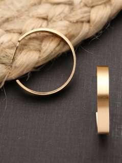 Brushed Gold Medium Sized Hoop Earrings