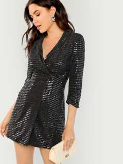 Shawl Collar Surplice Wrap Sequin Dress