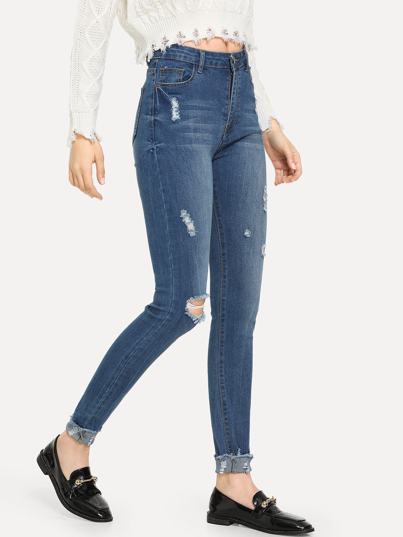 Купить Рваные джинсы с необработанным низом, Jana, SheIn